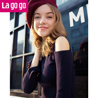 Lagogo开衩喇叭袖露肩针织衫女2017秋装新款时尚套头黑色打底毛衣GCMM438M04