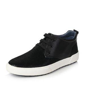 Teenmix/天美意冬专柜同款花纹牛皮/软面牛皮休闲男低靴AHD15DD6