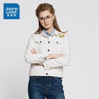 [每满150减50]真维斯女装 2018春装时尚舒适夹克牛仔短外套