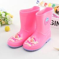 儿童雨鞋加绒男童胶鞋女童水鞋公主可爱小童宝宝雨靴萌物学生防滑 粉 小象