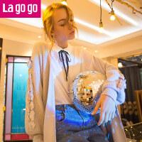 【618大促-每满100减50】Lagogo/拉谷谷2017年冬新款时尚织带装饰落肩袖针织衫
