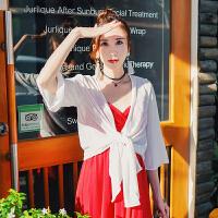 夏季新款女装雪纺喇叭袖纯色开衫透气飘逸防晒衫不规则女装外套 白色 均码