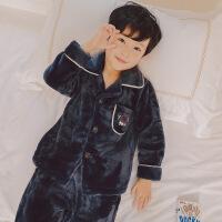 儿童珊瑚绒睡衣男孩加厚款秋冬季中大童男童法兰绒家居服套装保暖