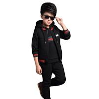 运动套装秋冬新款儿童运动休闲加绒卫衣套头衫三件套装加厚中大童外套