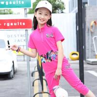 女童夏装新款套装中大童女孩夏季运动短袖两件套潮