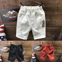 男童短裤夏款新款儿童三色百搭破洞弹力休闲裤五分裤子A-A1