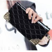 新款小清新日韩学生韩版女式手拿包包长款女士钱包女拉链包零钱包 黑色 无手腕带