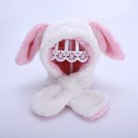 儿童帽子冬季毛绒宝宝护耳帽可爱保暖冬天男童女童套头帽1-2-4岁3 白色 小了兔 均码