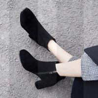 短靴女粗跟2018新款秋冬方头踝靴黑色磨砂中跟小码女靴马丁裸靴33SN9250