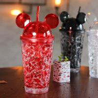 时尚可爱卡通米奇夏日冰杯 创意吸管水杯冷饮塑料杯子