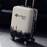 铝框箱行李箱女拉杆箱万向轮20寸学生箱子拉箱潮24寸男拖箱旅行箱 世界白色【减震轮 铝框】