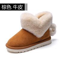 羊皮毛一�w女童雪地靴2018冬季新款�坌墓�主棉靴加厚保暖棉鞋