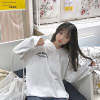秋装甜美女装韩版宽松长袖T恤学生连帽打底衫薄卫衣休闲上衣潮