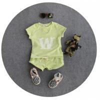 糖果色2件套 18夏款套装男女童运动短袖+短裤 80/ 5码