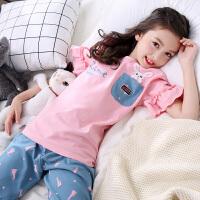 儿童睡衣夏季女童短袖夏天女孩公主中大童亲子家居服套装薄款