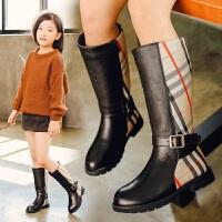 女童过膝长靴秋冬季长筒靴2018新款冬靴真皮靴子公主儿童鞋高筒靴