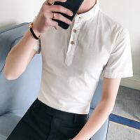 男士夏季短袖衬衫潮流气质纯色休闲韩版修身立领衬衣潮24