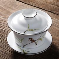 陶瓷功夫茶具泡茶器 高级画师纯手工彩绘定窑三才盖碗茶杯 定窑白竹报平安盖碗