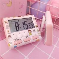 粉色可爱迷你闹钟电子计时器电子闹钟表看时间桌面道具摆件台钟
