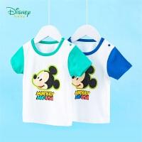 【119元4件】迪士尼Disney童装 男童T恤迪士尼宝宝米奇印花圆领肩开短袖T恤 2020年夏季新品