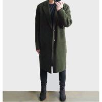 羊毛呢大衣男中长款韩版英伦风双面羊绒大衣男呢子外套落肩风衣冬 (加棉)