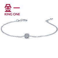 金一钻石手链女白18K金简约时尚结婚手链18度甜系列钻饰 送女友 需定制
