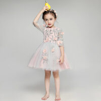 儿童晚礼服小花童礼服女童长袖蓬蓬婚纱公主裙主持人钢琴演出服夏