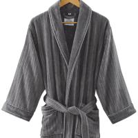 酒店浴袍五星级女纯棉毛巾料全棉睡袍情侣浴衣加厚吸水 古堡灰 M(适合体重160斤以内)