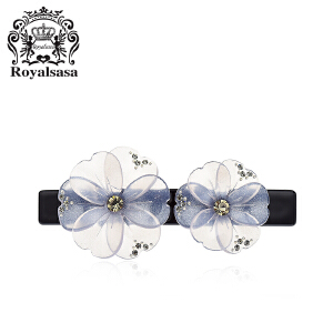 皇家莎莎盘发夹花朵仿水晶一字夹头饰顶夹横夹弹簧夹马尾夹发饰品