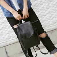 包包女包韩版双肩包女时尚潮pu小背包学院风学生书包 黑色