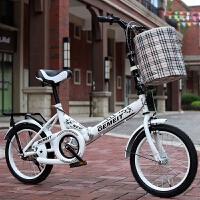 新款折叠自行车16寸20寸6-12-18岁男女孩学生减震单车青少年单车 16寸白色+礼包 适合110cm-150cm