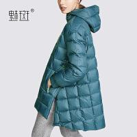 【新年狂欢到手价:898.8】魅斑连帽羽绒服女2019新款加厚保暖中长款气质时尚斗篷羽绒外套