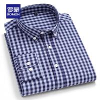 【补贴价:59元】罗蒙男士商务休闲衬衫2021春季新款中青年百搭格子衫透气长袖衬衣