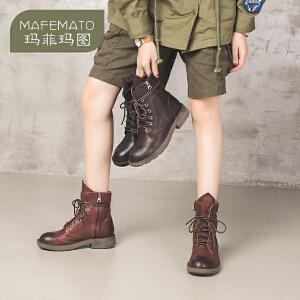 新款马丁靴女街头风短筒圆头中跟平底侧拉链牛皮系带春秋单靴5751-30