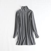 秋冬女中长款毛衣 高领长袖修身显瘦打底毛线裙连衣裙31X