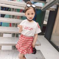 2018夏季韩版个性圆领字母露肩上衣格子不规则半身裙2件套装