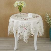 欧式圆桌布蕾丝刺绣水溶花边桌布盖巾茶几布十字绣桌布台布 米色jx017