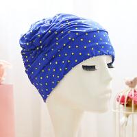 百褶泳帽长发加大码不勒头舒适护耳布泳帽男女大号游泳帽 宝蓝色 宝蓝小黄点
