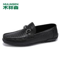 木林森春季男鞋2019新款羊皮豆豆鞋低帮套脚商务休闲鞋